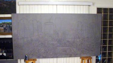 The entire 4 x 8 foot canvas sketched